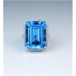 18CAI-26 SWISS BLUE TOPAZ  DIAMOND RING