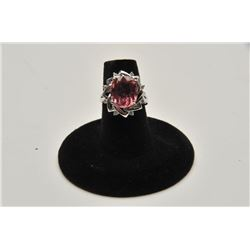 18RPS-11 PINK TOURMALINE  DIAMOND RING