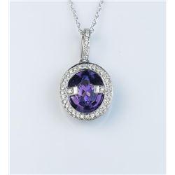 18CAI-32 AMETHYST  DIAMOND PENDANT
