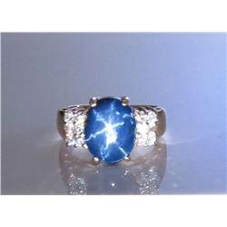18CAI-34 STAR SAPPHIRE  DIAMOND RING