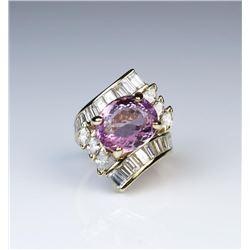 18CAI-20 PINK TOURMALINE  DIAMOND RING