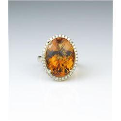 18CAI-28 CITRINE  DIAMOND RING