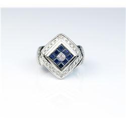 18CAI-53 BLUE SAPHIRE  DIAMOND RING