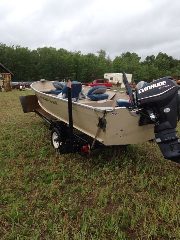 2013 polar craft 16ft boat and trailer with 25 hp Etec Evinrude