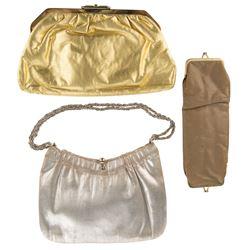 Dorothy Lamour personal (3) metallic and tan purses.