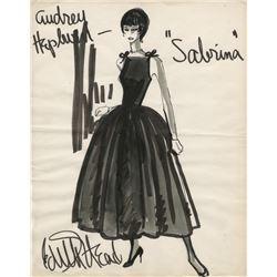 "Edith Head original costume sketch of Audrey Hepburn as ""Sabrina Fairchild"" from Sabrina."