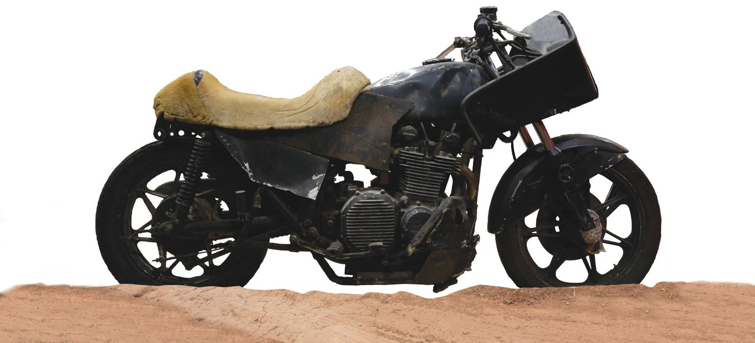 "Vernon Wells ""Wez"" post-apocalyptic custom motorcycle from Mad Max 2: The  Road Warrior"
