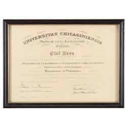 """Kevin Costner """"Elliot Ness"""" framed degree from The Untouchables."""