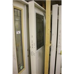 WOOD AND GLASS FRONT DOOR WITH FRAME, WHITE