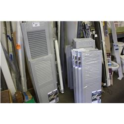 LARGE LOT OF ASSORTED WINDOW SHUTTERS AND TRIM