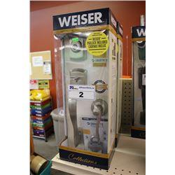 WEISER SMART KEY DEADBOLT AND DOOR HANDLE KIT - BRUSH METAL