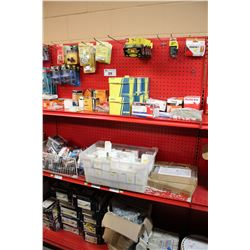 ENTIRE SHELF OF ASSORTED HARDWARE, SCREWS, AND MORE