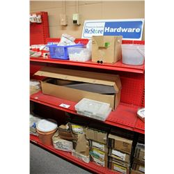 ENTIRE SHELF OF ASSORTED HARDWARE, STAPLES, AND MORE