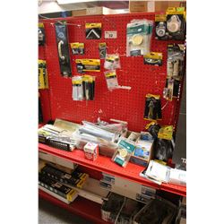 ENTIRE SHELF OF ASSORTED BRACES, HARDWARE, AND MORE