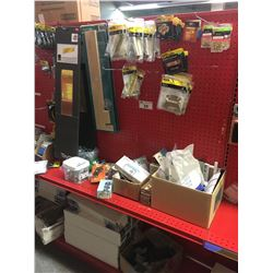 ENTIRE SHELF OF ASSORTED BOLTS, HARDWARE, AND MORE