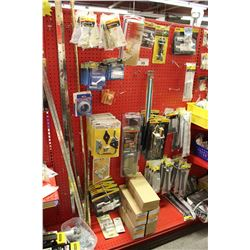 ENTIRE SHELF OF ASSORTED BOLTS, LATCHES, HINGES, AND MORE