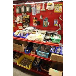 ENTIRE SHELF OF ASSORTED HINGES, HARDWARE, AND MORE