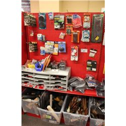 ENTIRE SHELF OF ASSORTED HARDWARE, SIGNS, AND MORE