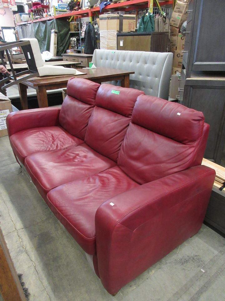 Natuzzi Red Leather Reclining Sofa