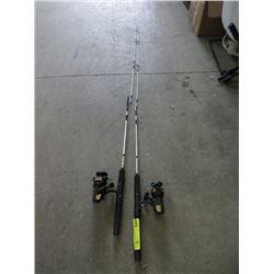 2 New Aqua Strike Graphite Fishing Rods & Reels
