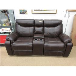 "New 76"" Manual Reclining Leather Sofa"