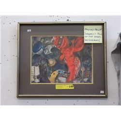 "Framed Marc Chagall ""The Falling Angel"" Print"