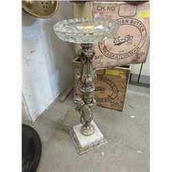 Vintage Glass Ashtray on Stand