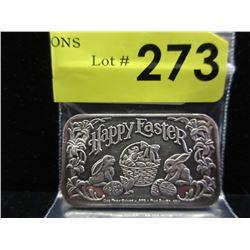 1 Oz. Happy Easter motif.999 Silver Bar