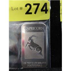 1 Oz. Capricorn motif.999 Silver Bar