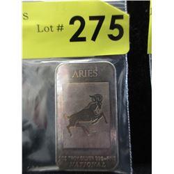 1 Oz. Aries motif.999 Silver Bar