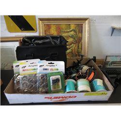 Reels, Assorted Flies, Fishing Line & Bag