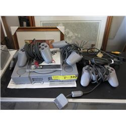 PS1 Console with 3 Controllers & One Game