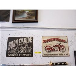 2 New Metal Motorcycle Signs with Vintage Images