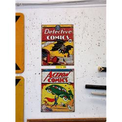 2 Metal Comic Signs with Vintage Images