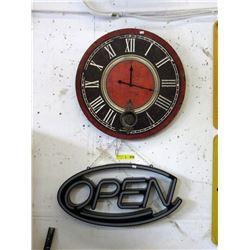 "23"" Wall Clock & Open Sign"