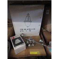 2 Light Fixtures & Box of Bulb Shades