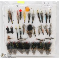 32 ASSORTED FLIES AND FISH HOOKS