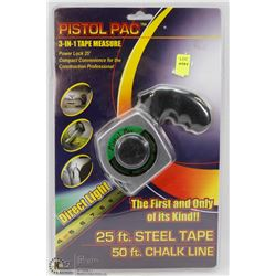 NEW 25' PISTOL PAC 3 IN 1 TAPE MEASURE