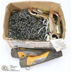 BOX OF CHAINLINK INCL STAINLESS STEEL AND LANYARDS