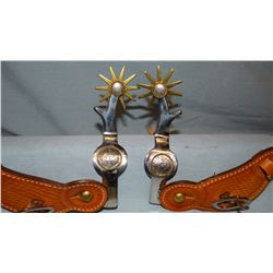 Colorado Saddlery special-order large spurs w/motif on the side – 1960's