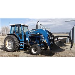 1993 Ford 8630 tractor w/Woods DuAl 275 loader, 120 pto hp, 1706 actual hours, 2WD, 8' bucket, grapp