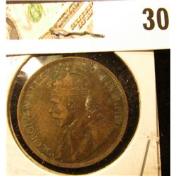 1917 Fine Canada Large Cent.