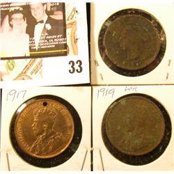 190?, 1917 Holed, & 1919 (Corrosion) Canada Large Cents.