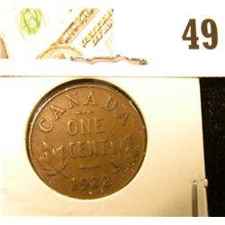 1922 Canada small Cent, Key date, Fine.