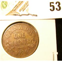 1926 Canada small Cent, Key date, Very Fine.