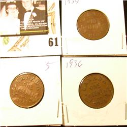 1934, 35, & 36 Canada small Cents, all depicting George V.