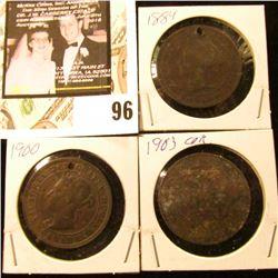 1884 (holed), 1900 (holed), & 1903 (corrosion) Canada Large Cents.