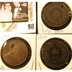 1861 New Brunswick, Canada Large Cent (holed); 1871 Prince Edward Island Large Cent (holed); & 1917