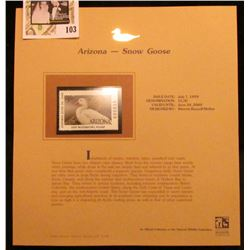 1999 Arizona-Snow Goose Waterfowl $5.50 Stamp. Mint Condition with literature, unsigned.