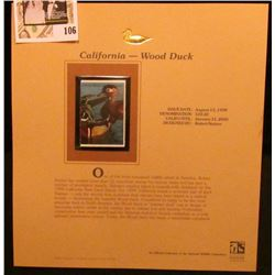 1999 California-Wood Duck Waterfowl $10.50 Two-part Stamp, this is the backward part. Mint Condition
